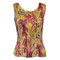 Tank top - popcorn pleats - georgette pink lime paisley