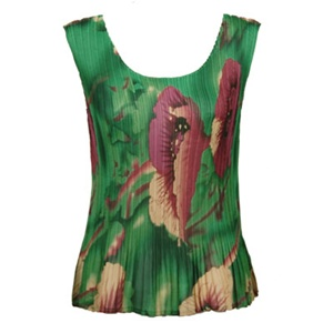 Tank top - popcorn pleats - georgette poppies green