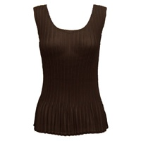 Tank top - mini pleats - georgette solid dark brown