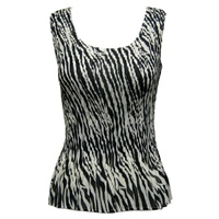 Tank top - mini pleats - georgette zebra stripe