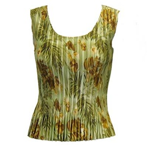 Tank top - popcorn pleats - satin gold sage floral