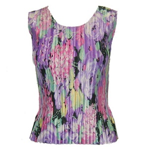 Tank top - popcorn pleats - satin lilac pink floral