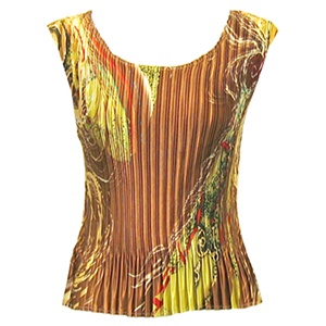Tank top - popcorn pleats - satin swirl copper lime