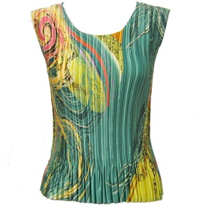 Tank top - popcorn pleats - satin swirl green gold