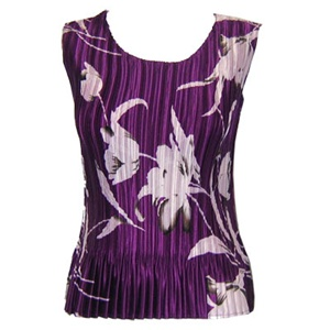 Tank top - popcorn pleats - satin white tulips on purple