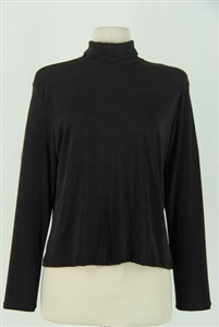 Long sleeve turtle neck top - black - polyester/spandex