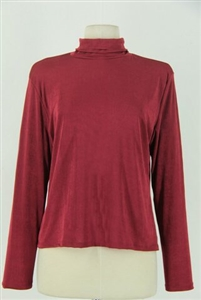 Long sleeve turtle neck top - burgundy - polyester/spandex