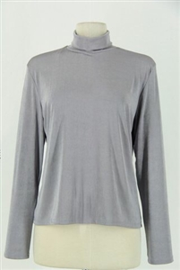 Long sleeve turtle neck top - grey - polyester/spandex