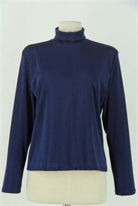 Long sleeve turtle neck top - navy - polyester/spandex