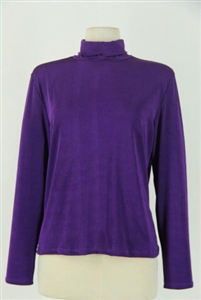 Long sleeve turtle neck top - purple - polyester/spandex