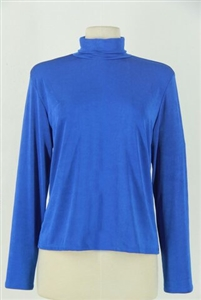 Long sleeve turtle neck top - blue - polyester/spandex