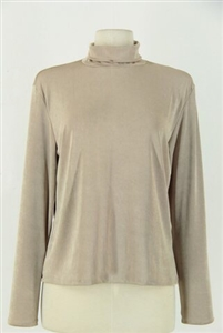 Long sleeve turtle neck top - tan - polyester/spandex