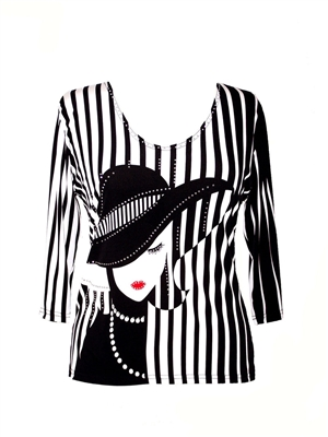 3/4 sleeve top with rhinestones - lady with black hat