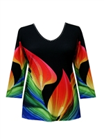 3/4 sleeve top with rhinestones - multicolor petals on black