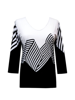 3/4 sleeve top with rhinestones - black/white ribbon print