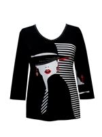 3/4 sleeve top with rhinestones - lady on black/white stripes