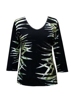 3/4 sleeve top with rhinestones - black with palm fronds