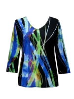 3/4 sleeve top with rhinestones - black with blue/green strands