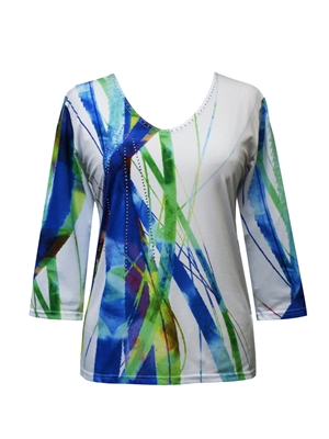 3/4 sleeve top with rhinestones - white with blue/green strands