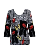 3/4 sleeve top with rhinestones - black/white with red roses