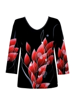 3/4 sleeve top with rhinestones - black with red petals