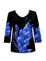 3/4 sleeve top with rhinestones - black with blue petals