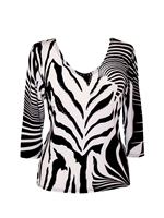 3/4 sleeve top with rhinestones - black/white zebra print