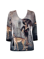 3/4 sleeve top with rhinestones - lady walking leopard