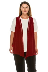 Vest with rhinestones - cranberry - acetate/spandex