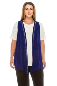 Vest with rhinestones - royal blue - acetate/spandex