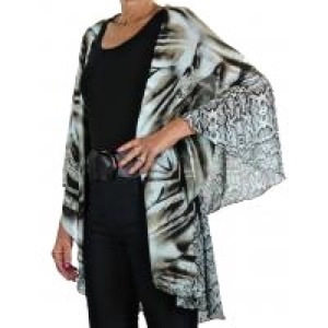 Chiffon vest - brown mixed animal print - polyester