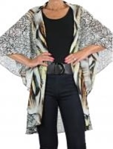 Chiffon vest - camel mixed animal print - polyester