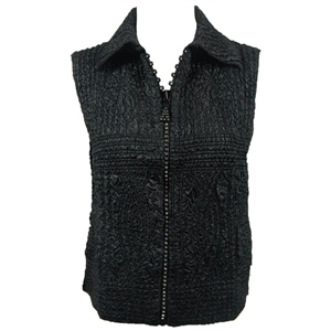 Crinkly vest in black with rhinestone zipper