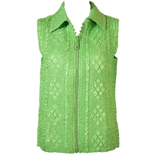 Crinkly vest with rhinestone zipper - green apple