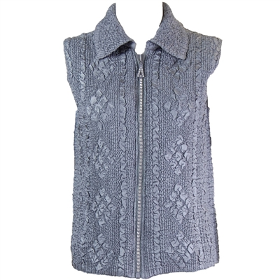Crinkly vest with rhinestone zipper - charcoal