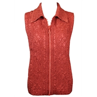Crinkly vest with rhinestone zipper - cinnamon