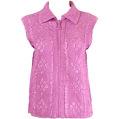 Crinkly vest with rhinestone zipper - dusty rose