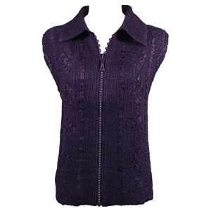 Crinkly vest with rhinestone zipper - eggplant