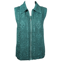 Crinkly vest with rhinestone zipper - hunter green