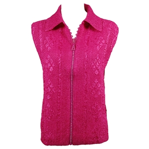 Crinkly vest with rhinestone zipper - hot pink