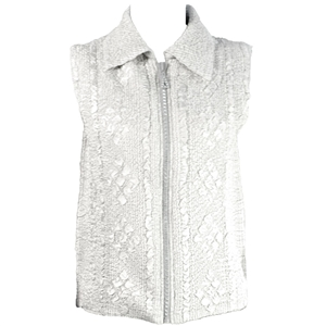 Crinkly vest with rhinestone zipper - ivory