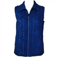 Crinkly vest with rhinestone zipper - navy