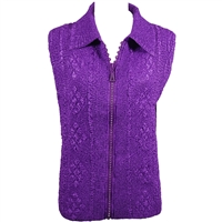 Crinkly vest with rhinestone zipper - purple