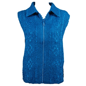Crinkly vest with rhinestone zipper - royal blue