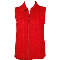 Crinkly vest with rhinestone zipper - red