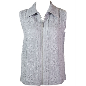 Crinkly vest with rhinestone zipper - silver