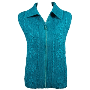 Crinkly vest with rhinestone zipper - teal
