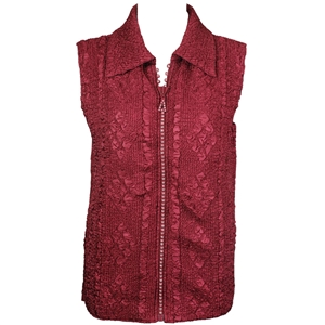 Crinkly vest with rhinestone zipper - wine