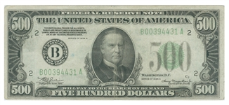 mckinley $500 note