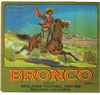 bronco orange crate label